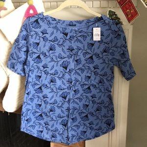 NWT loft elbow sleeve floral blue T-shirt small